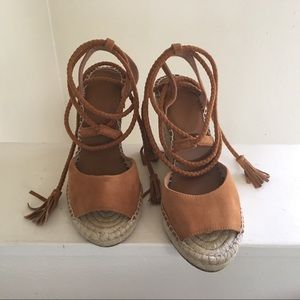 Joie Phyllis Lace Up Suede Espadrille Wedge